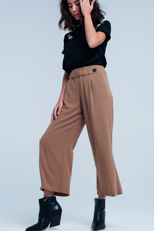 Camel wide leg pants with buttons