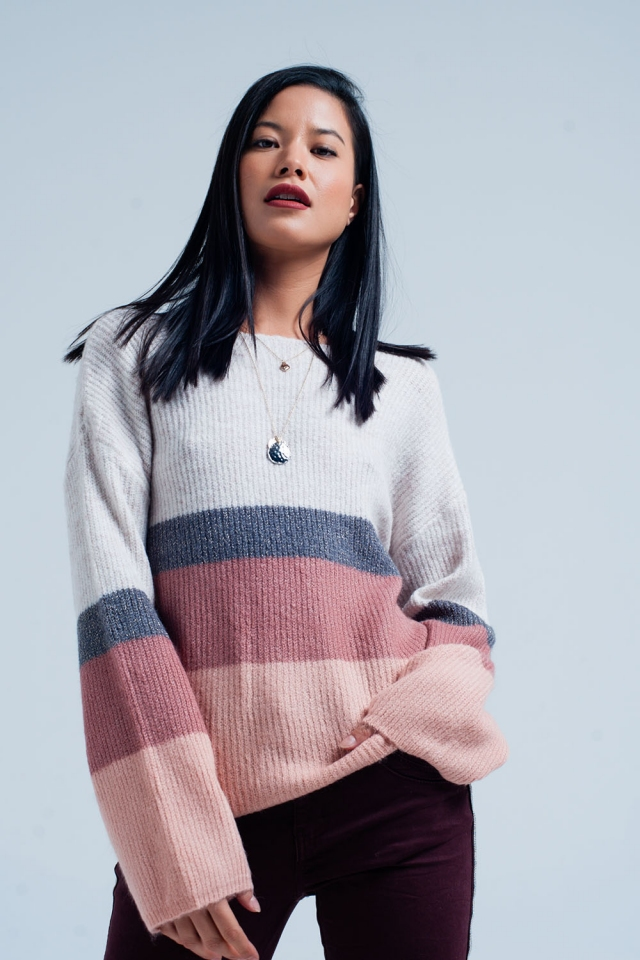 Pink Striped Sweater with Glitter