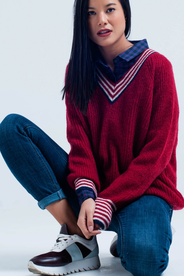 Red V-Neck Sweater with Striped Details