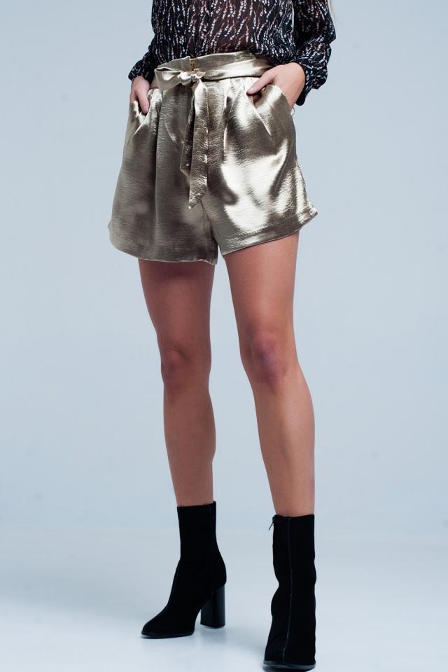 Beige Satin Shorts with Waist Tie