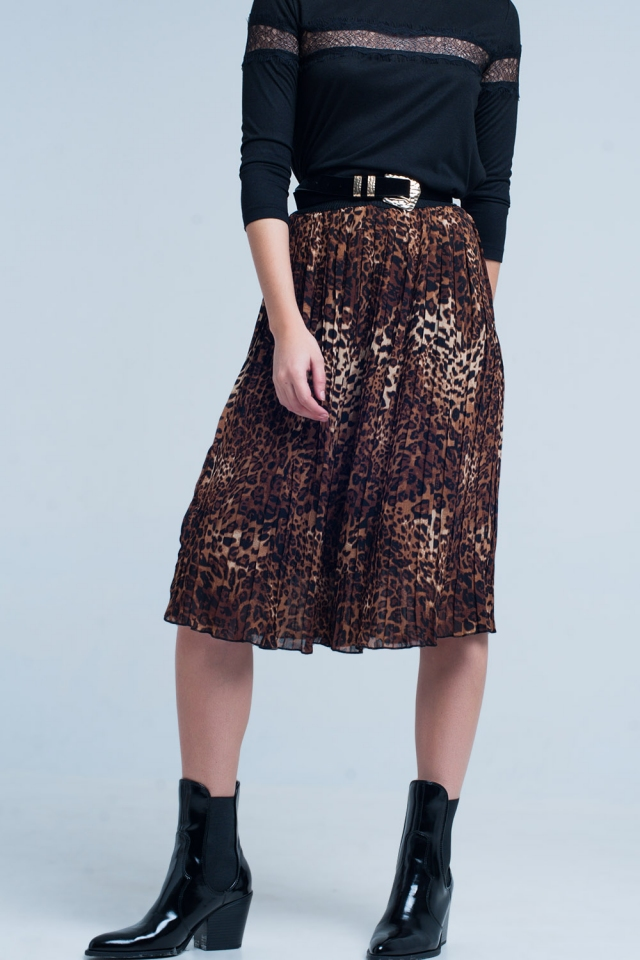Brown Pleated Midi Skirt in Leopard Print