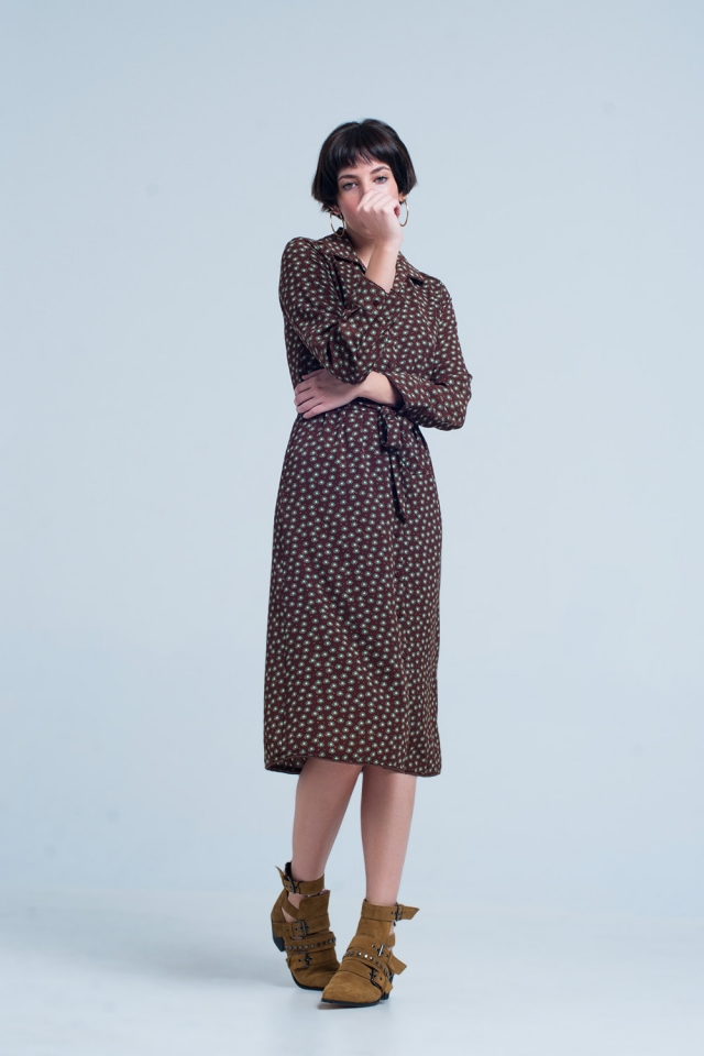 Brown Midi Dress with Collar