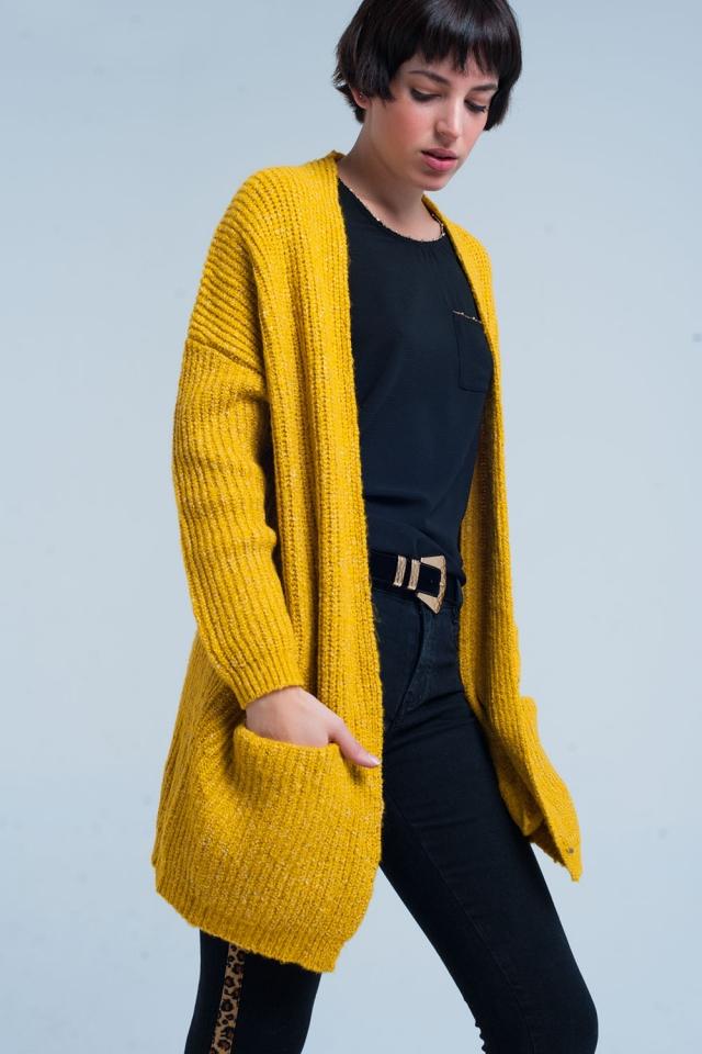 Mustard Fleck Knitted Cardigan