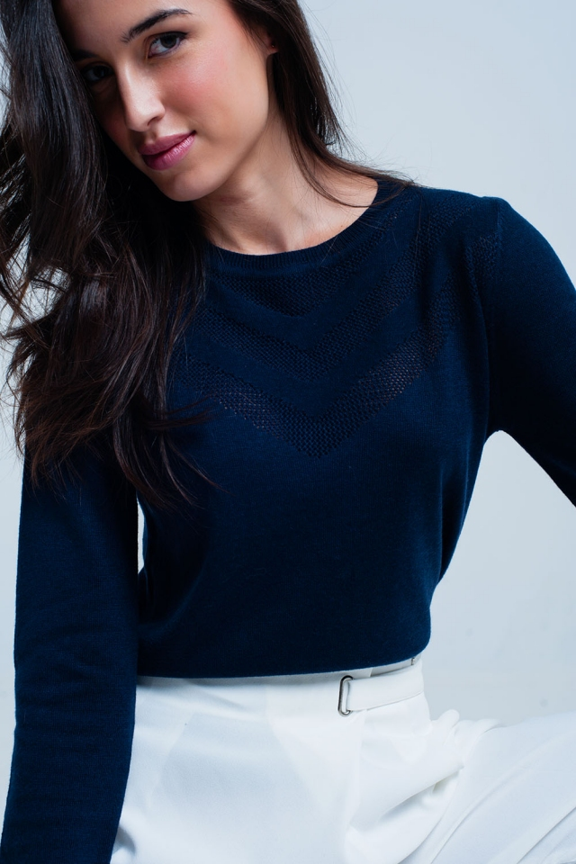 Navy Wool Sweater with Textured Detail