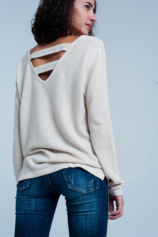 Beige Sweater with Strappy Open Back