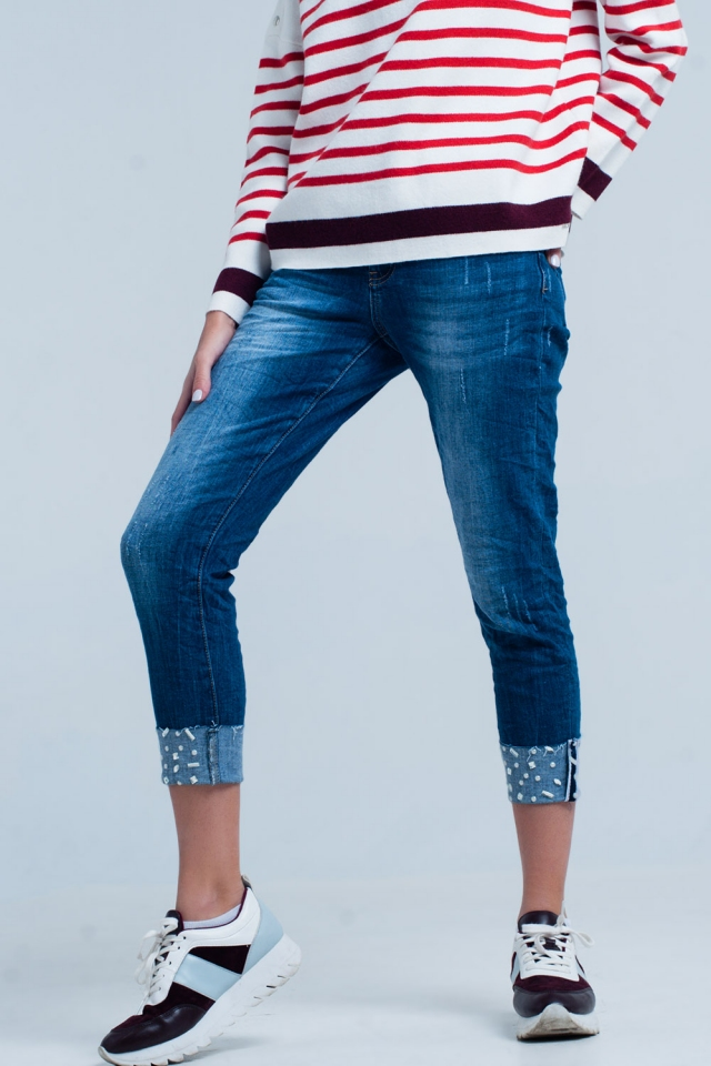 Denim Jeans with Folded Strass Ankles