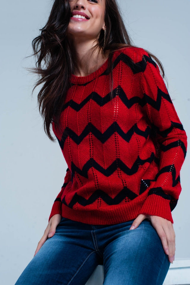 Red Chunky Knit Glitter Sweater in Black Zigzag