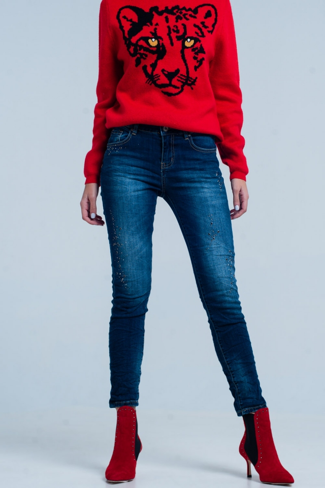 Dark Jeans Wrinkled Leg and Rhinestones
