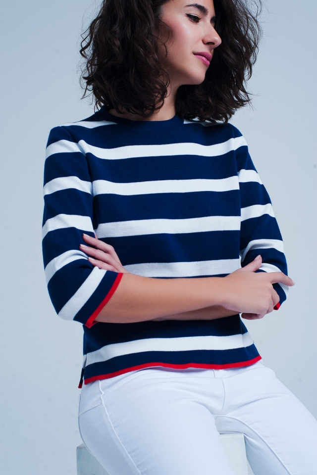 cropped sleeve blue sweater in stripe
