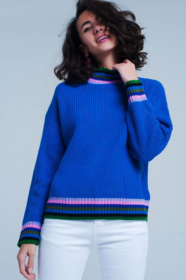 blue stripe detail sweater