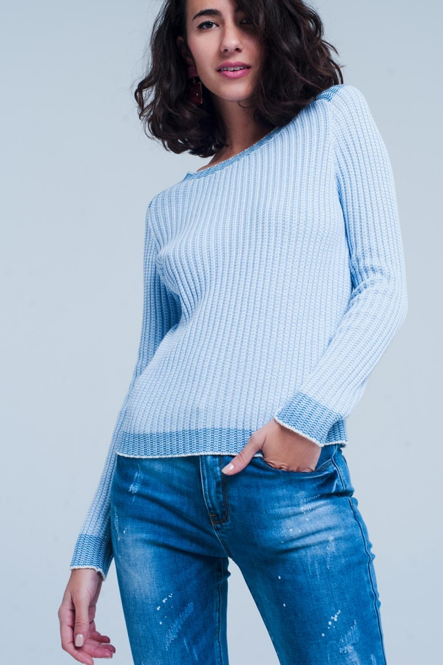 ribbed knitted sweater with contrast edge in blue