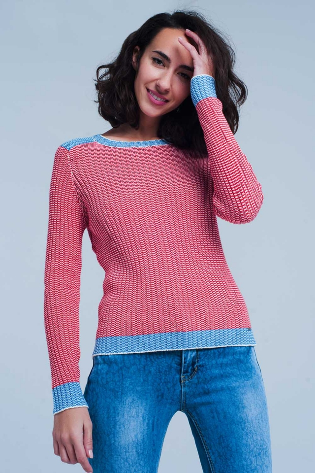 Ribstitch sweater with blue edge in red