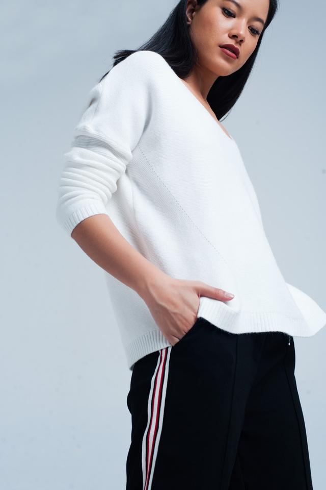 Cream Soft Knit V-neck Sweater