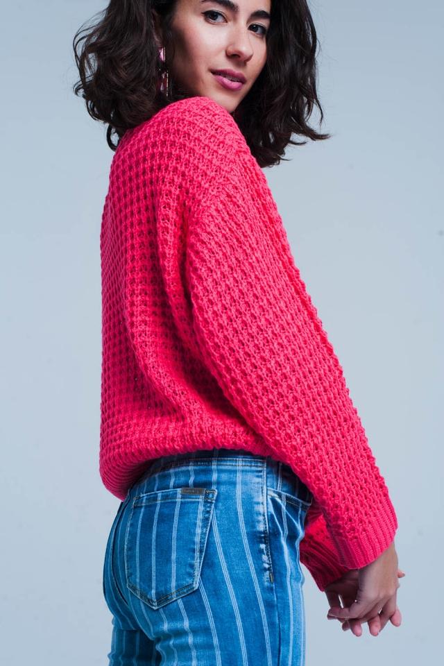 Fuchsia Chunky Waffle Knit Sweater