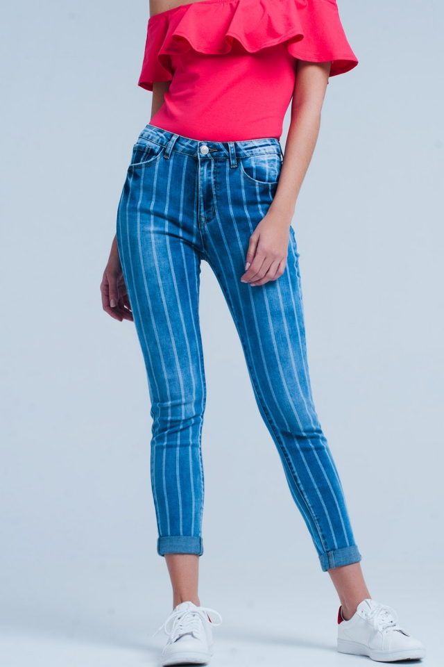 Skinny Jeans with Light Wash Stripes