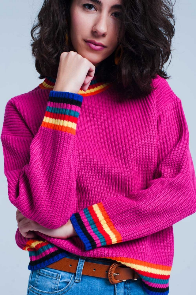 Fuchsia stripe detail sweater