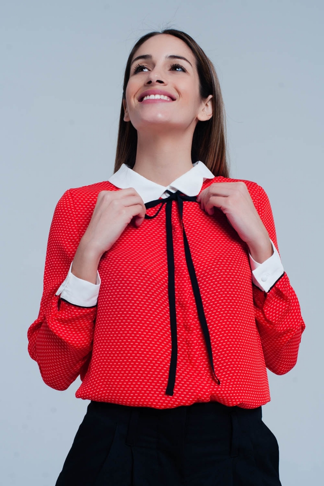 Coral Shirt with Collar and Tie
