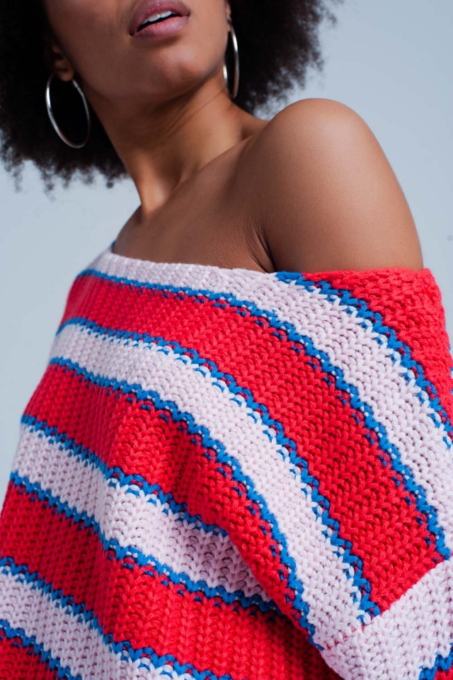 Coral Striped Rib Stitch Knitted Sweater