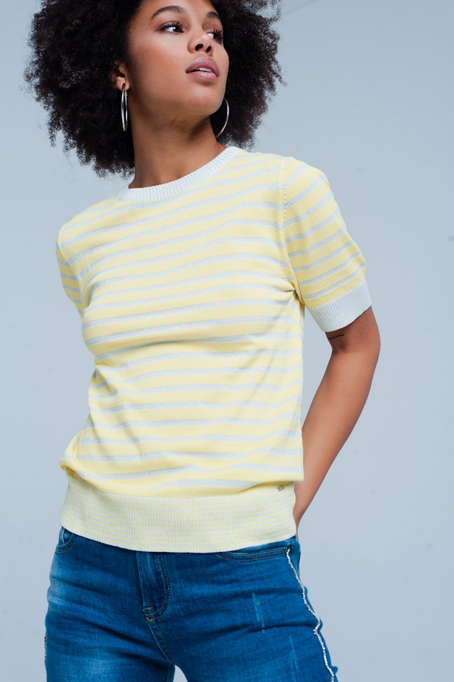 Short Sleeve Yellow Striped Glitter Sweater