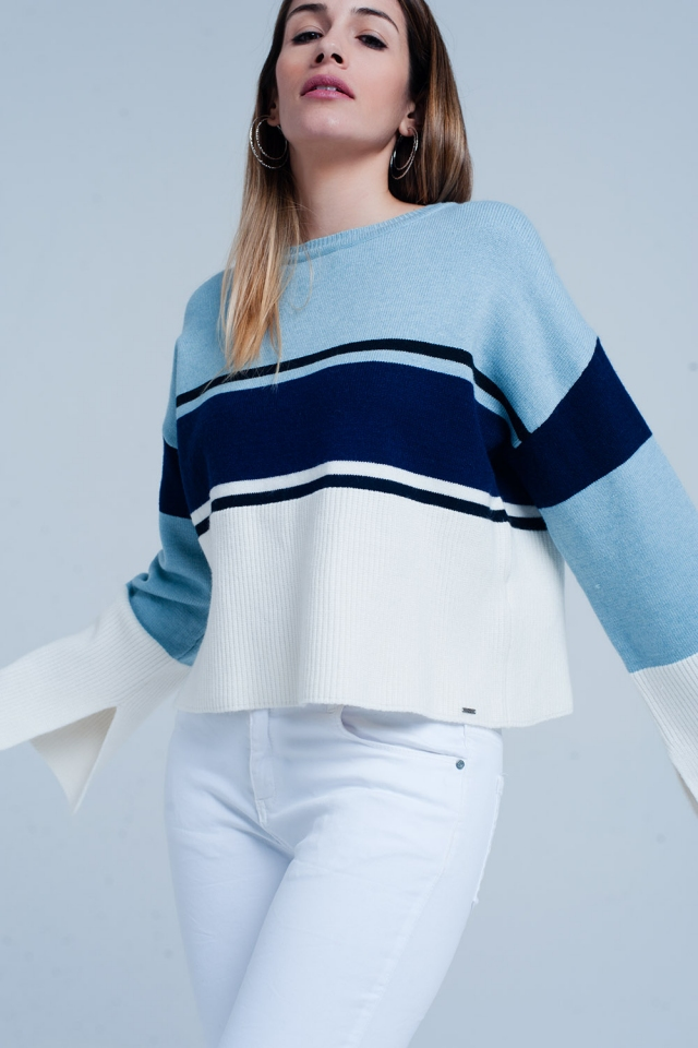 Blue Striped Sweater with Flare Sleeves