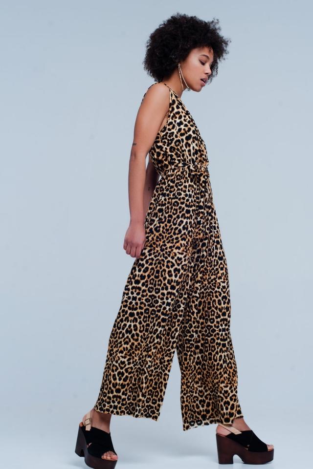 Brown Leopard Print Jumpsuit