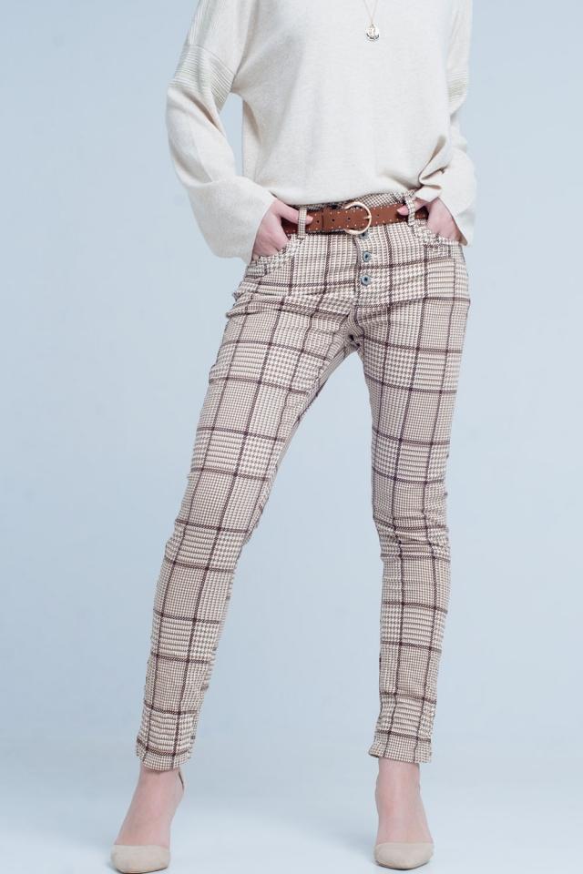 Beige Tartan Boyfriend Jeans