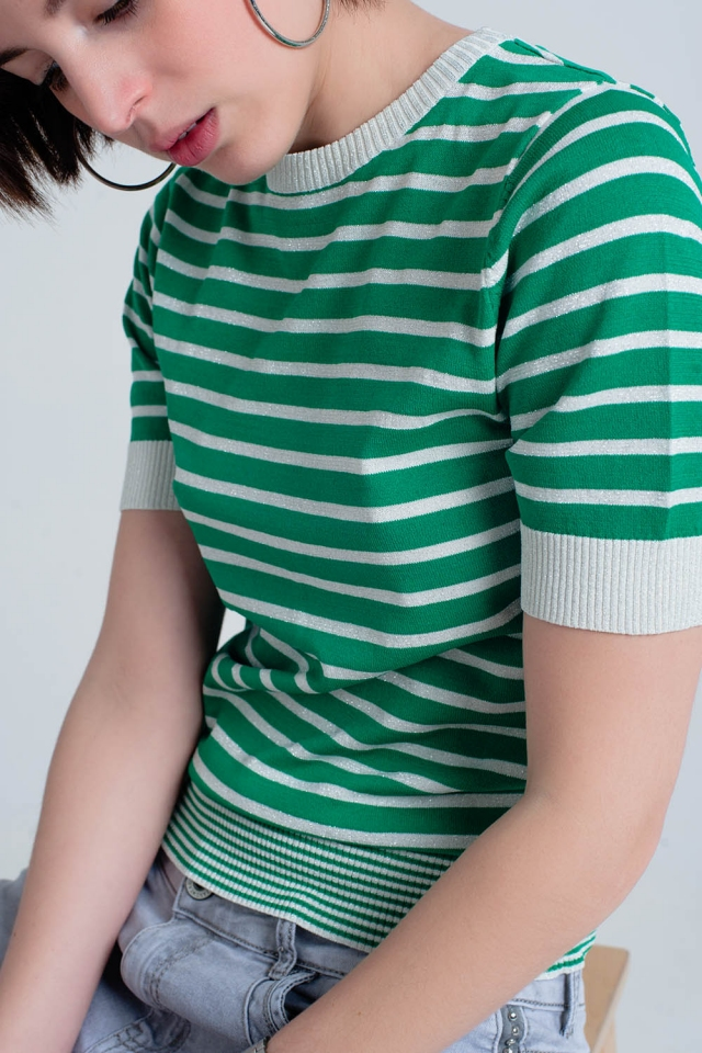 Short Sleeve green Striped Glitter Sweater