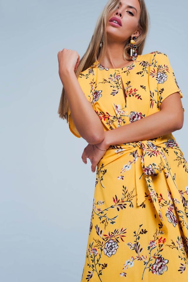 Yellow Floral Wrapped Midi Dress