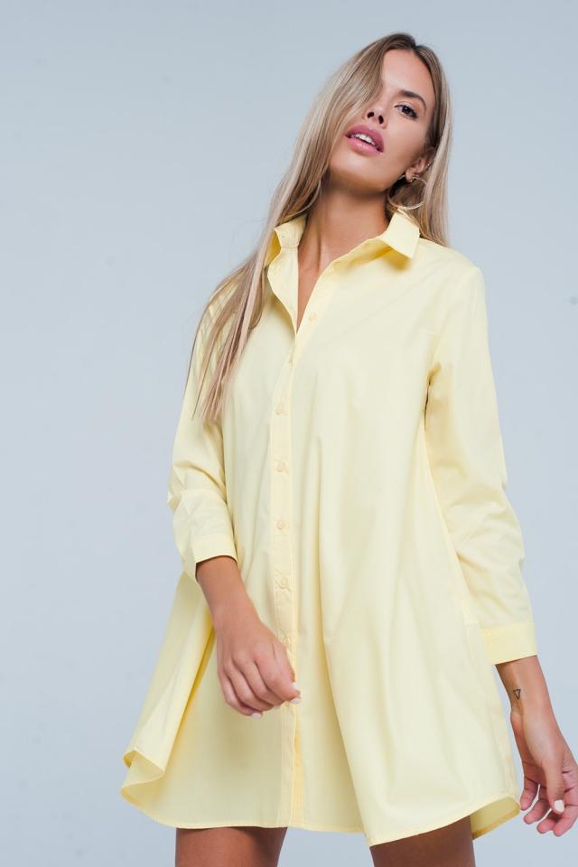 Basic Yellow Longline Shirtdress