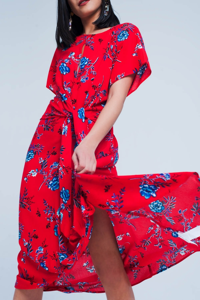 Red Floral Wrapped Midi Dress