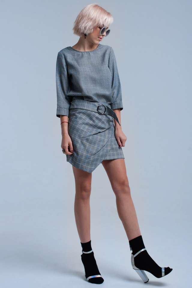 Grey tartan pattern skirt with buckle