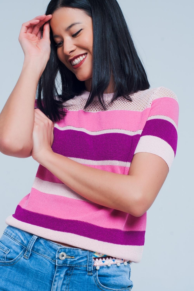 Fuchsia Striped Open Knit Sweater Short Sleeves