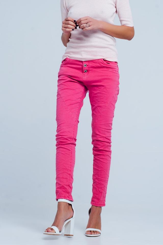 Fuchsia Low rise boyfriend jeans