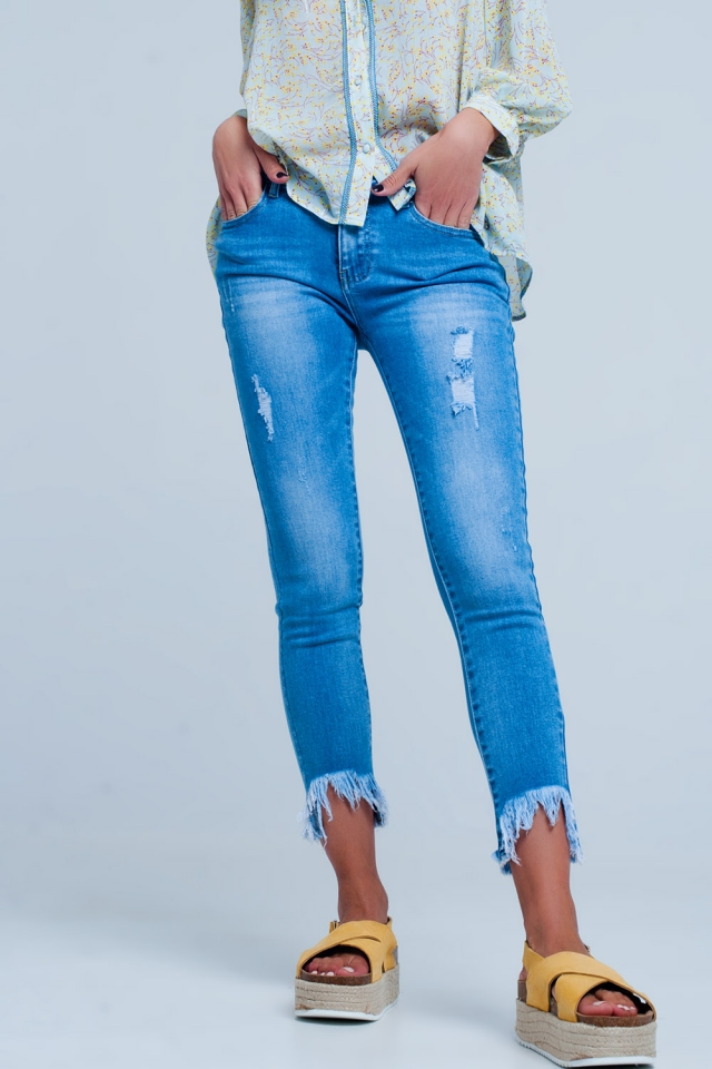 Freyed Angled Hem Jeans