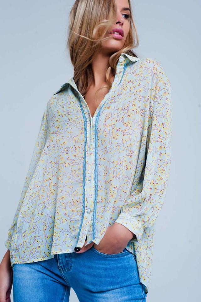 Blue Floral Button Front Blouse