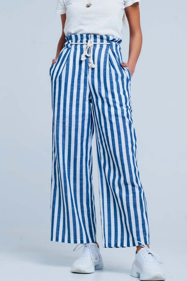 Blue apered pants with rope belt in stripe