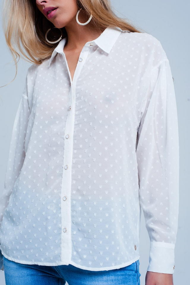 White relaxed sheer shirt in subtle spot