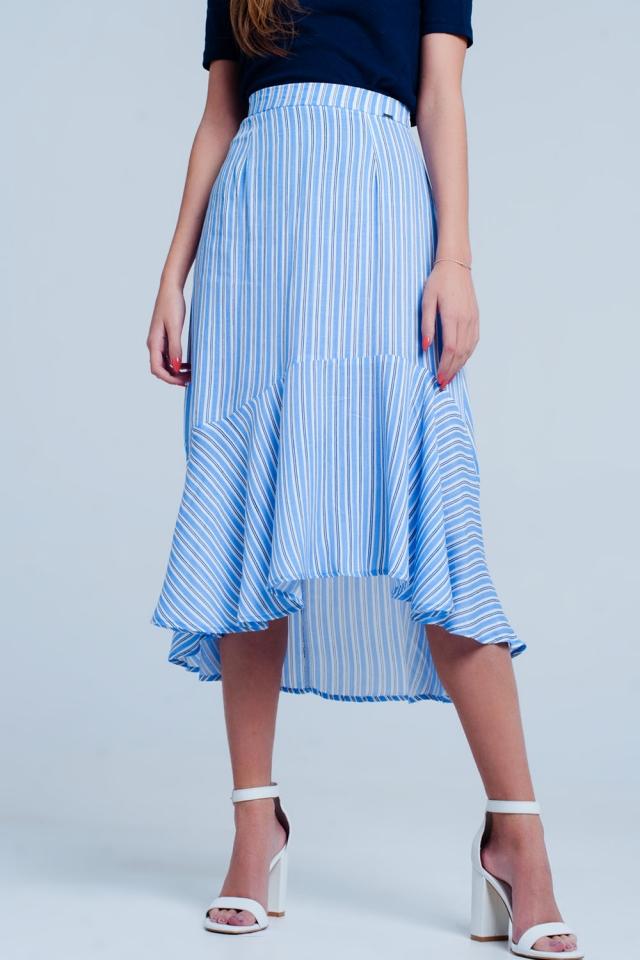 Blue stripe asymetric hem midi skirt