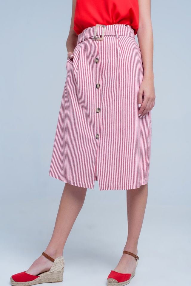 Red stripe midi skirt with buttons