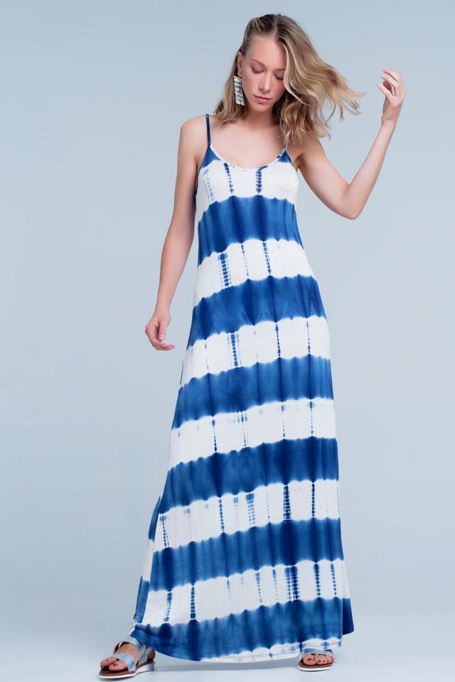 Striped maxi dress in blue