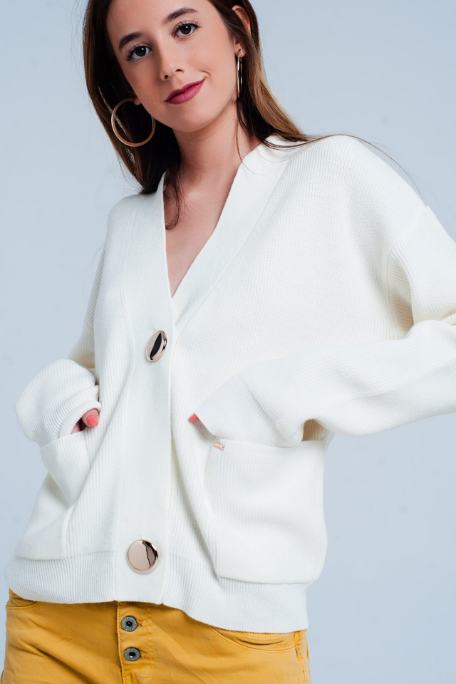 Beige cardigan in fine knit rib with buttons