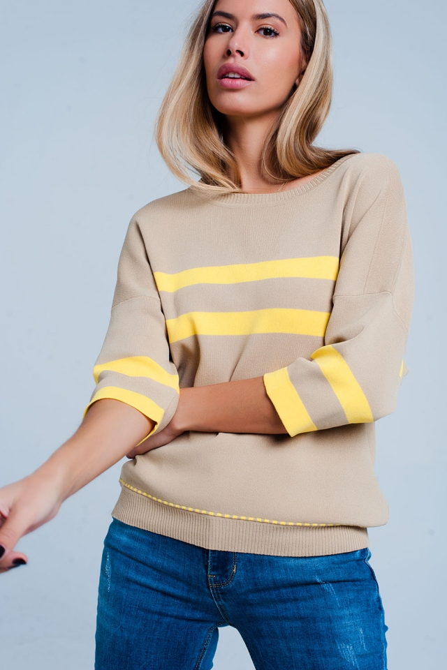Beige sweater with yellow stripes