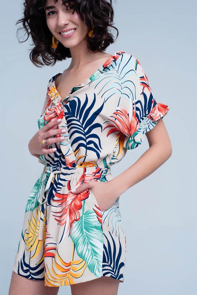 Beige floral print jumpsuit