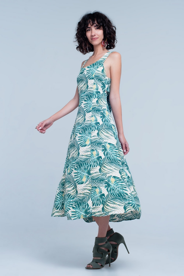 Green dress with floral print and square neck