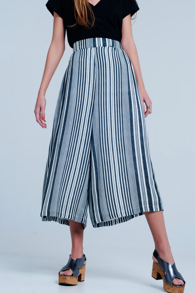 Culottes in black stripe