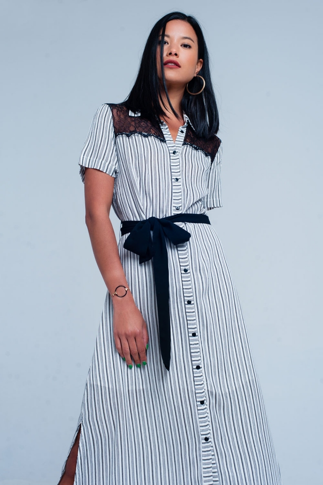 Striped dress with lace cutout in white
