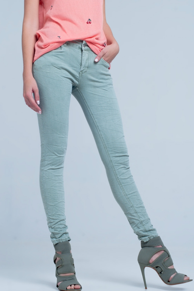 Green crushed jeans
