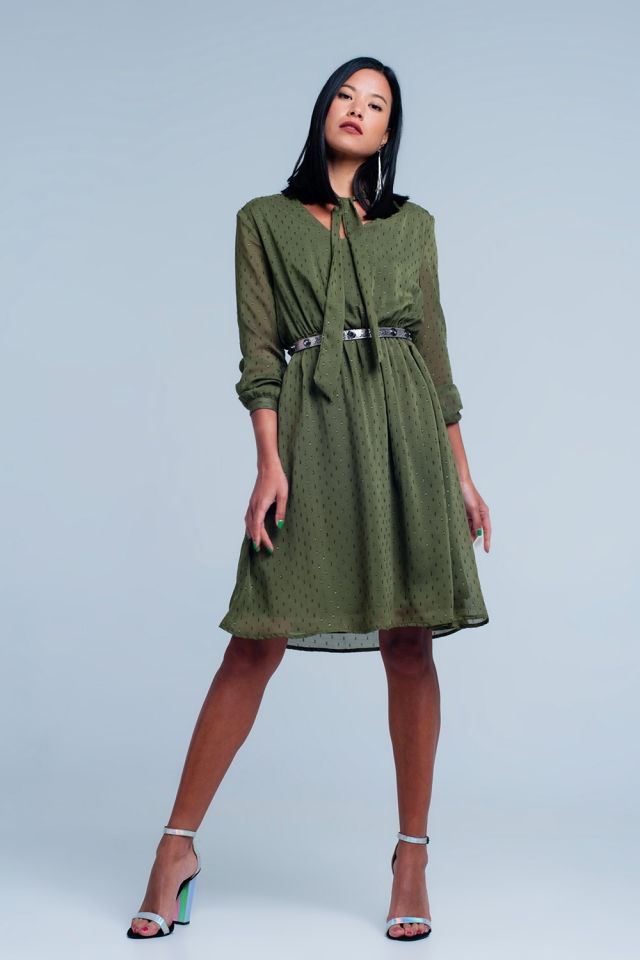 Green dress with v-neck