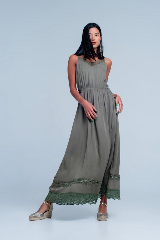 Khaki dress with crotchet trim