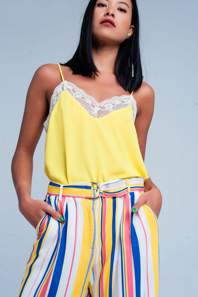 Yellow lace detail cami top